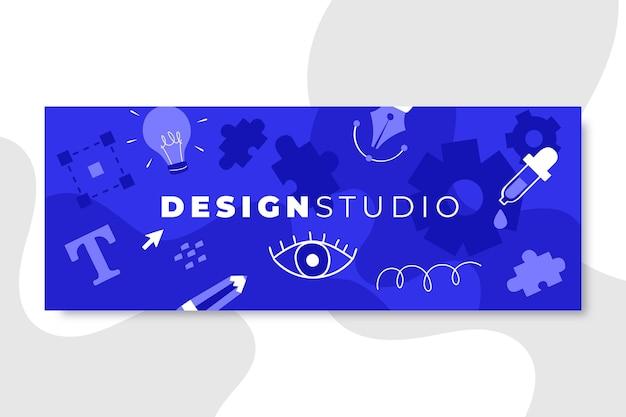 Hand getekend monokleurig ontwerp sociale media omslag