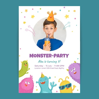 Hand getekend monster verjaardag uitnodiging sjabloon met foto