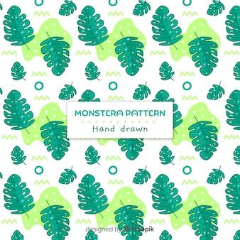 Hand getekend monstera patroon