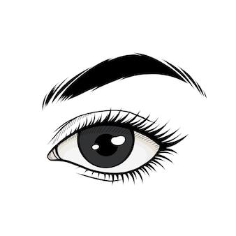 Hand getekend mooi oog