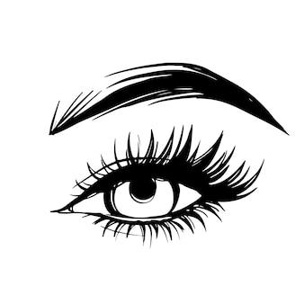 Hand getekend mooi vrouwelijk oog met lange zwarte wimpers en wenkbrauwen.