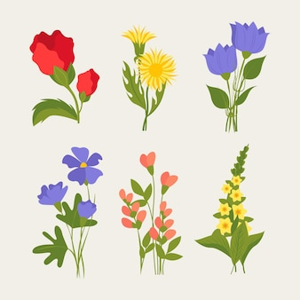 Hand getekend mooie bloemen collectie