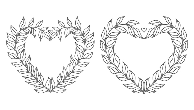 Hand getekend mooie en decoratieve minimale bloemen hart illustratie