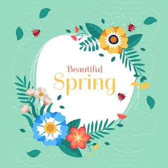 Hand getekend mooie lente bloemen frame