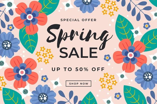 Hand getekend mooie lente verkoop achtergrond