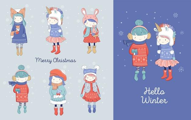 Hand getekend mooie schattige kleine meisjes wintercollectie. merry christmas wenskaarten