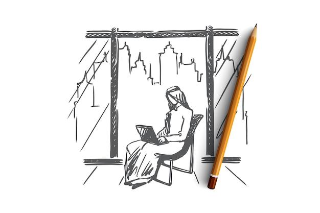 Hand getekend moslim man zitten en werken met laptop concept schets