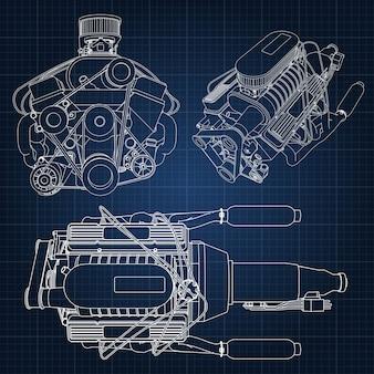 Hand getekend motor blauwdruk
