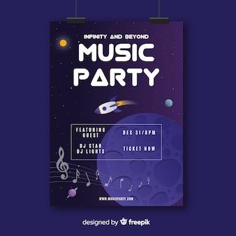 Hand getekend muziek poster sjabloon