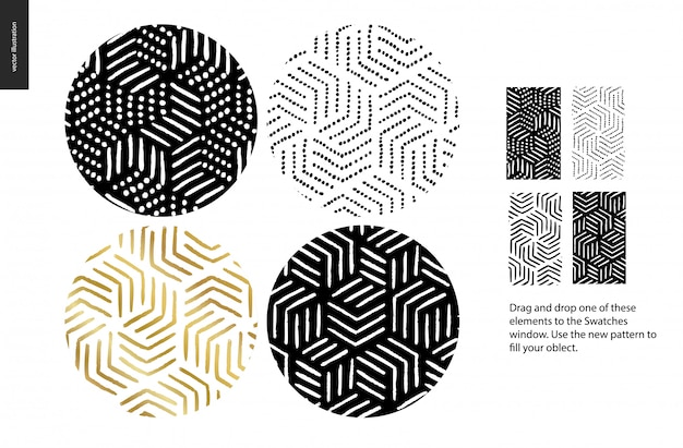 Hand getekend naadloos patroon - afgerond