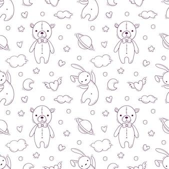 Hand getekend naadloos patroon met babyspeelgoed als teddybeer en vliegend konijn.