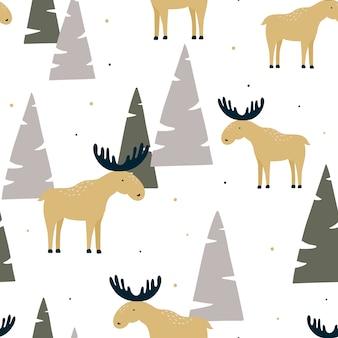 Hand getekend naadloos patroon met grappige elanden in een bos