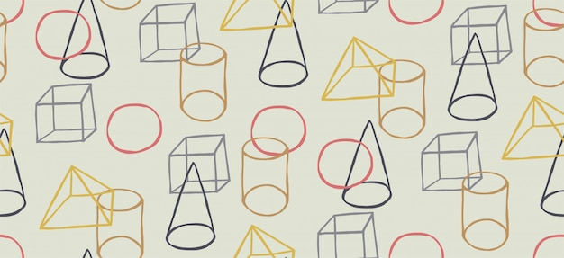 Hand getekend naadloos patroon met memphis-stijl en geometrische vormen