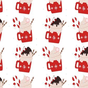 Hand getekend naadloos patroon met mokken voor wintervakanties