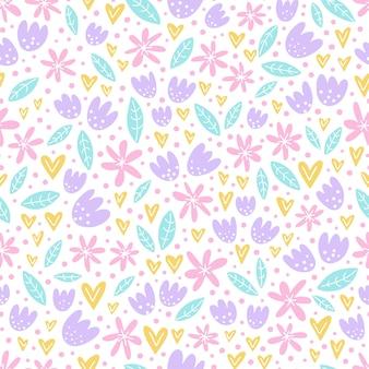 Hand getekend naadloos patroon met schattige bloemen.