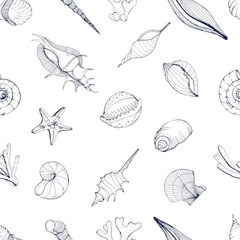 Hand getekend naadloos patroon met schelpen. monochrome achtergrond.