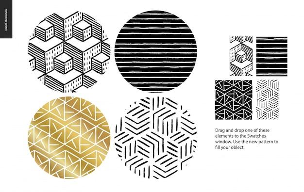 Hand getekend naadloos patroon set - afgerond
