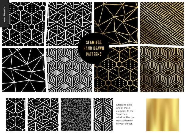 Hand getekend naadloos patroon - zwart