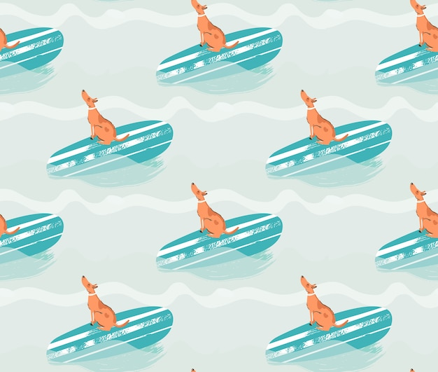 Hand getekend naadloze patroon illustratie met surfende hond