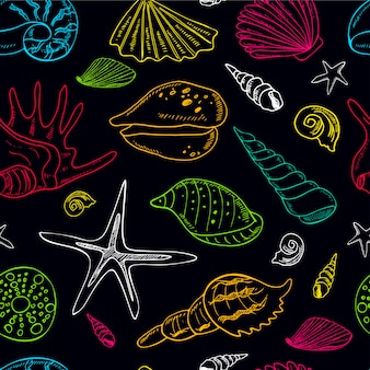 Hand getekend naadloze patroon met schelpen