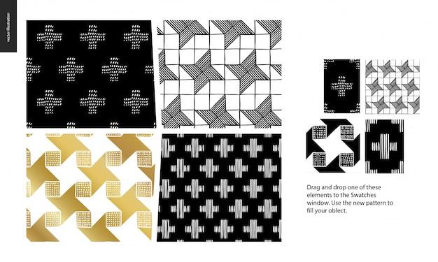 Hand getekend naadloze patroon set