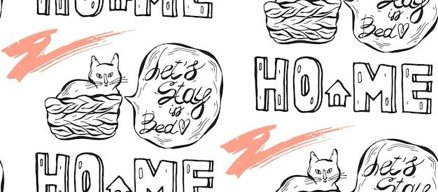 Hand getekend naadloze patroon van kat in pot met tekstballon en laten we in bed zin blijven