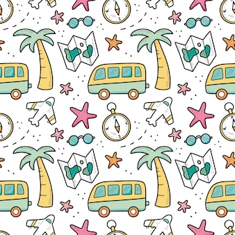 Hand getekend naadloze patroon van reizen zomervakantie elementen