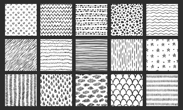 Hand getekend naadloze texturen. schetspatroon, krabbel doodle textuur en gebogen lijnen vector patronen instellen