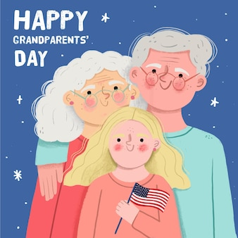 Hand getekend nationale grootouders dag achtergrond met kleindochter