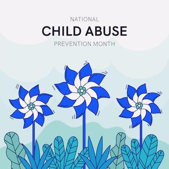 Hand getekend nationale kindermishandeling preventie maand illustratie