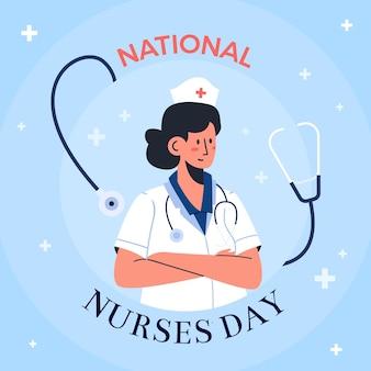 Hand getekend nationale verpleegsters dag illustratie