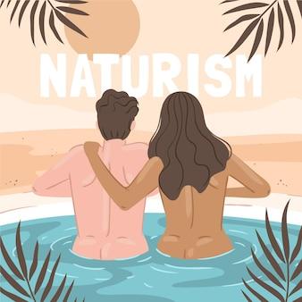 Hand getekend naturisme concept geïllustreerd
