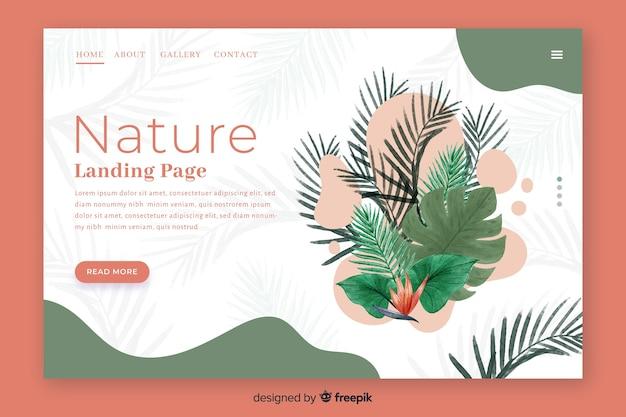 Hand getekend natuur bestemmingspagina sjabloon