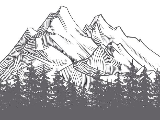 Hand getekend natuur landschap met bergen en fores silhouet