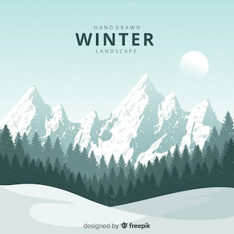 Hand getekend natuurlijke winterlandschap