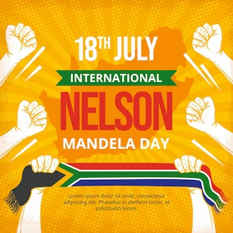 Hand getekend nelson mandela internationale dag illustratie