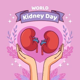 Hand getekend nier dag illustratie