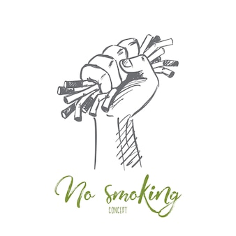 Hand getekend niet roken concept schets