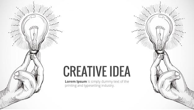 Hand getekend nieuw idee concept met hand met gloeilamp schets