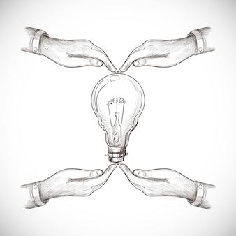 Hand getekend nieuw idee, innovatie en oplossingsconcepten gloeilamp