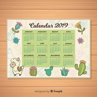 Hand getekend nieuwjaar 2019 kalender
