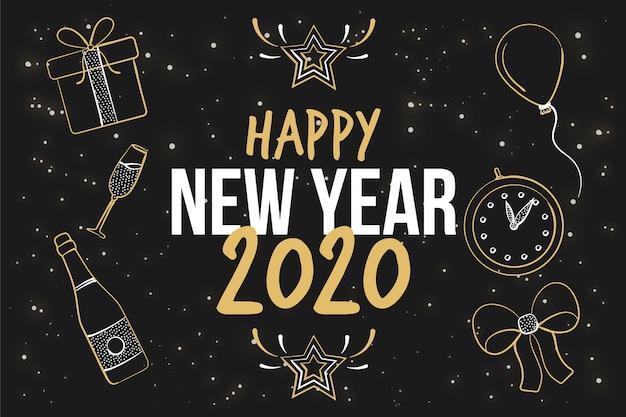 Hand getekend nieuwjaar 2020 achtergrond