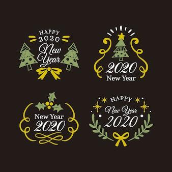 Hand getekend nieuwjaar 2020 badge-collectie