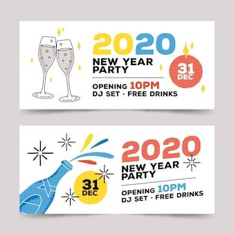 Hand getekend nieuwjaar 2020 partij banners set