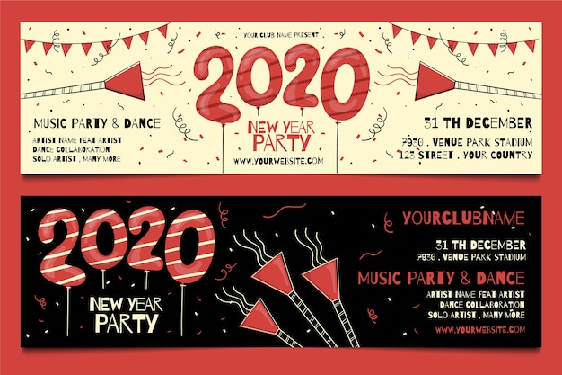 Hand getekend nieuwjaar 2020 partij banners