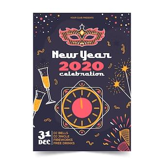 Hand getekend nieuwjaar 2020 partij poster sjabloon