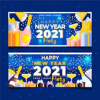 Hand getekend nieuwjaar 2021 feestbanners