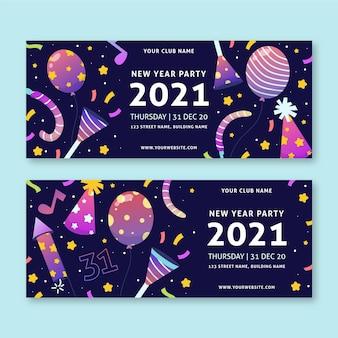 Hand getekend nieuwjaar 2021 partij banners sjabloon