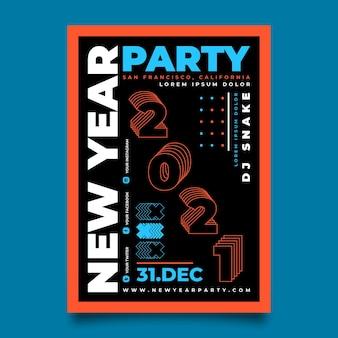 Hand getekend nieuwjaar 2021 partij flyer-sjabloon
