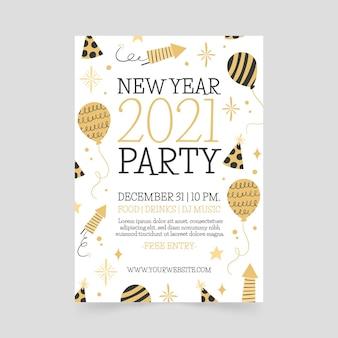 Hand getekend nieuwjaar 2021 partij poster sjabloon Gratis Vector